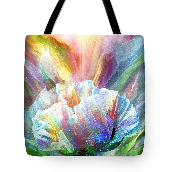 Tote Bag featuring the mixed media Healing Poppy With Butterflies by Carol Cavalaris