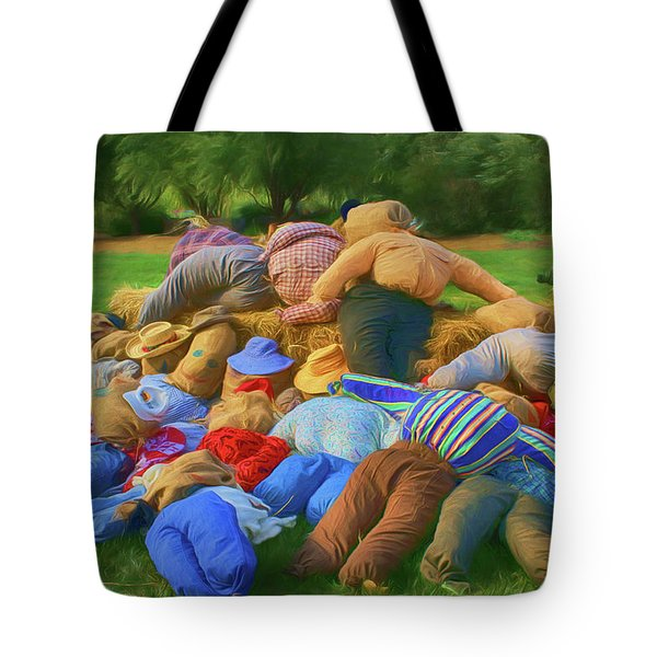 Tote Bag featuring the photograph Heap Of Scarecrows by Nikolyn McDonald
