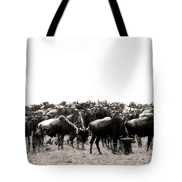 Herd Of Wildebeestes Tote Bag