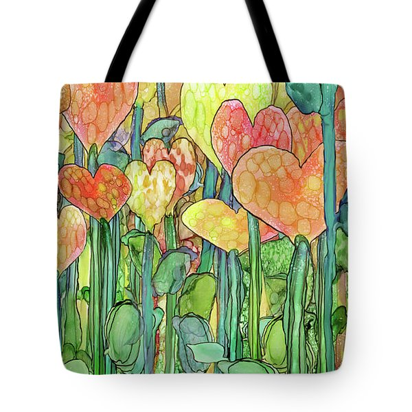 Tote Bag featuring the mixed media Heart Bloomies 2 - Golden by Carol Cavalaris