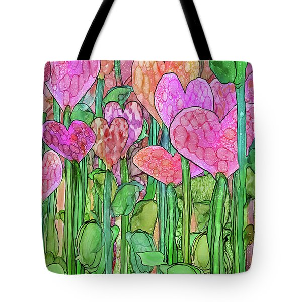 Tote Bag featuring the mixed media Heart Bloomies 2 - Pink And Red by Carol Cavalaris