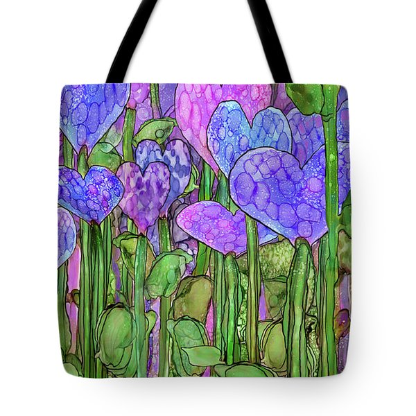 Tote Bag featuring the mixed media Heart Bloomies 2 - Purple by Carol Cavalaris
