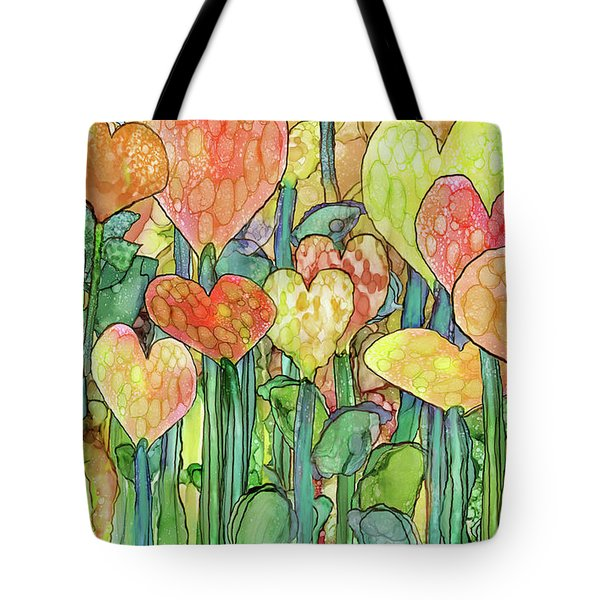 Tote Bag featuring the mixed media Heart Bloomies 3 - Golden by Carol Cavalaris