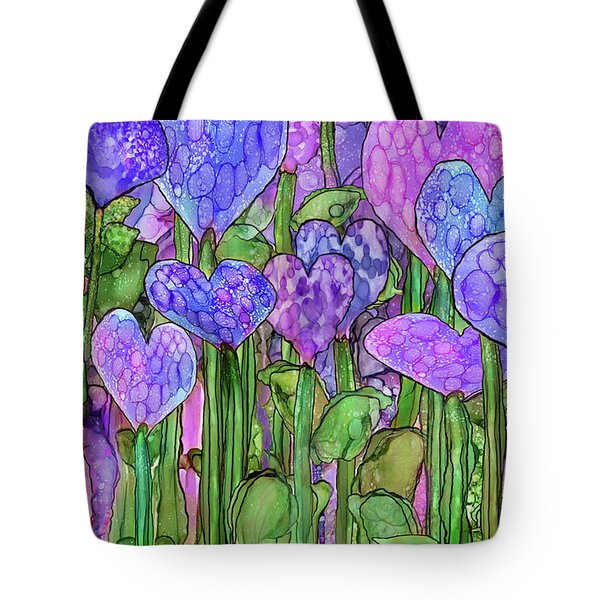 Tote Bag featuring the mixed media Heart Bloomies 3 - Purple by Carol Cavalaris