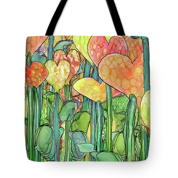 Tote Bag featuring the mixed media Heart Bloomies 4 - Golden by Carol Cavalaris