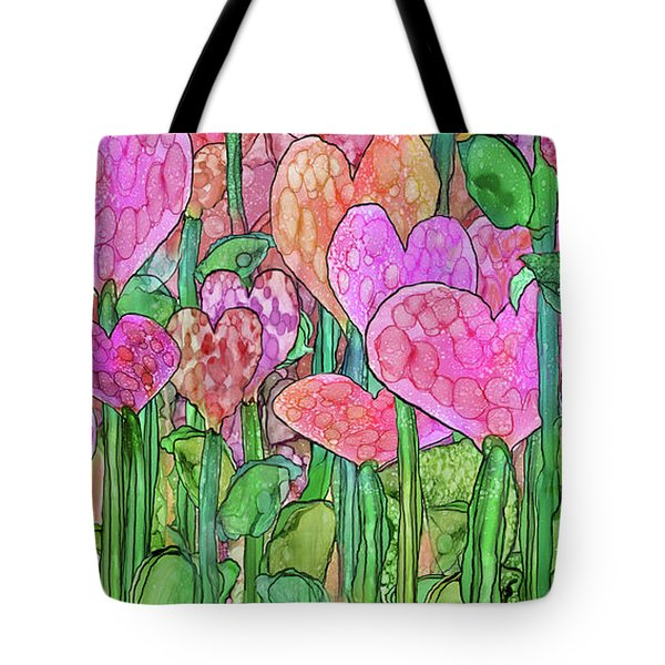 Tote Bag featuring the mixed media Heart Bloomies 4 - Pink And Red by Carol Cavalaris