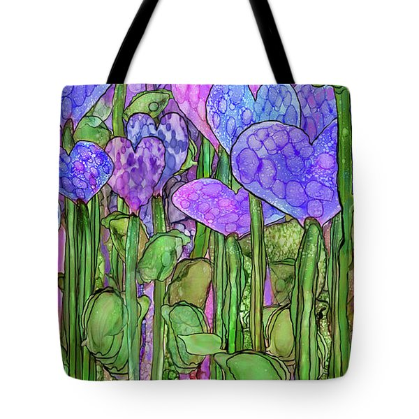 Tote Bag featuring the mixed media Heart Bloomies 4 - Purple by Carol Cavalaris