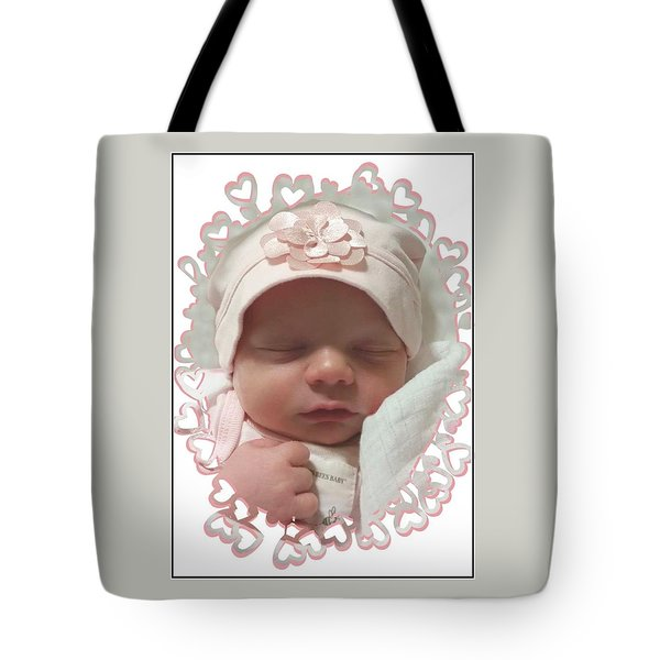 Heart Border On Newborn Girl Tote Bag