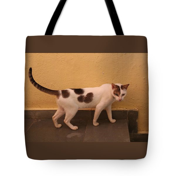 Heart Cat At Rosie's In Ganeshpuri Tote Bag
