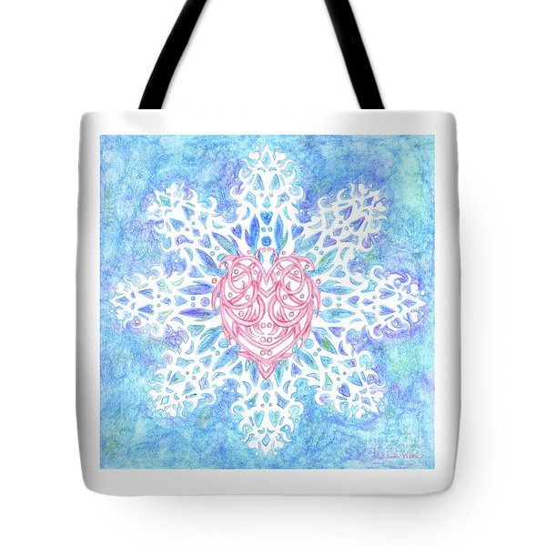Heart In Snowflake Tote Bag