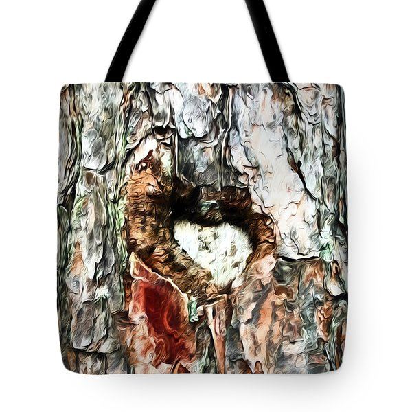 Tote Bag featuring the photograph Heart In The Tree by Kerri Farley