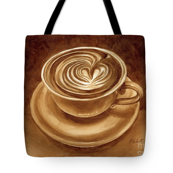 Tote Bag featuring the painting Heart Latte by Hailey E Herrera