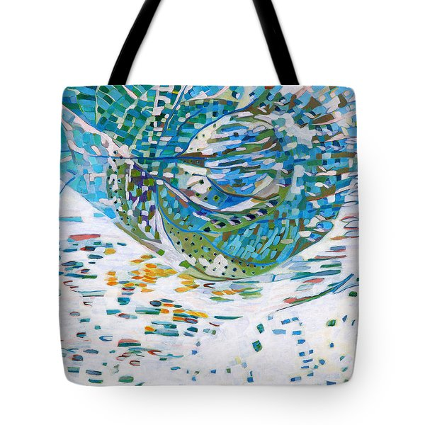 Tote Bag featuring the painting Himalaya Code - Heart by Linda Cull