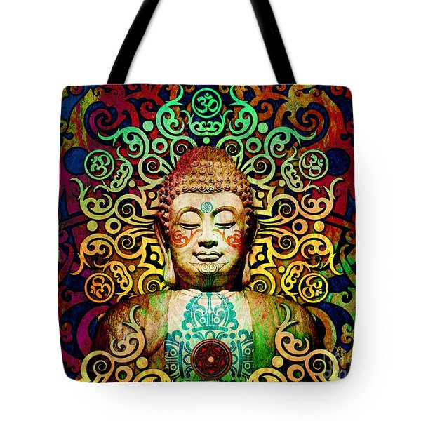 Heart Of Transcendence - Colorful Tribal Buddha Tote Bag