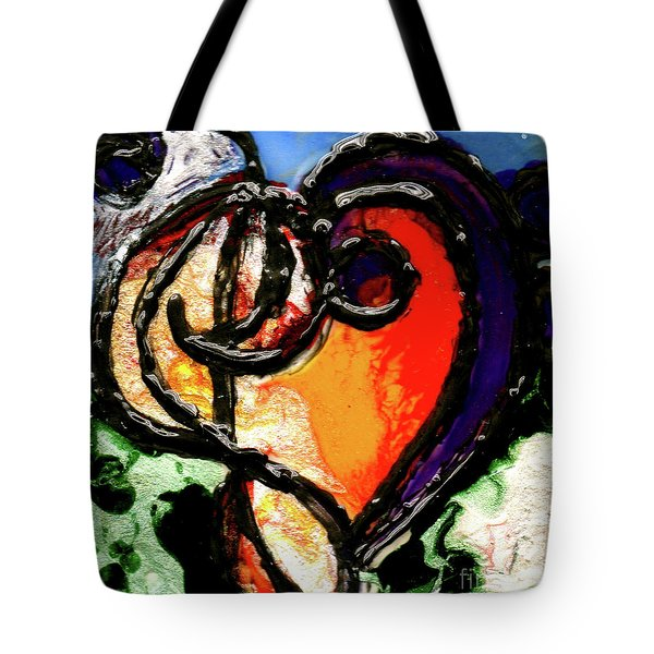 Tote Bag featuring the painting Heart Robin Treble by Genevieve Esson