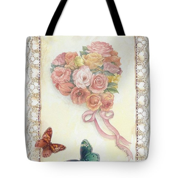 Heart Shape Bouquet With Butterfly Tote Bag