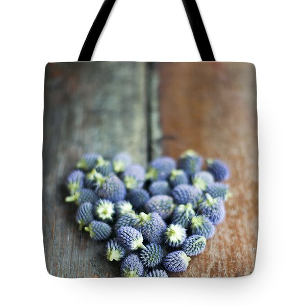 Heart Shaped Blue Thistle Buds Tote Bag