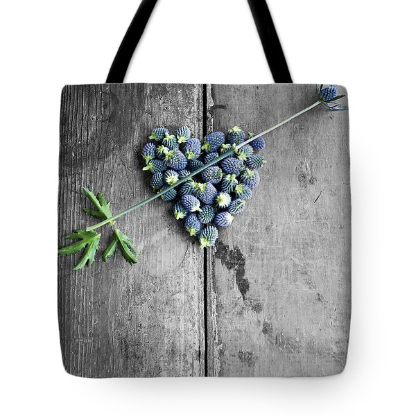 Heart Shaped Blue Thistle Buds With Arrow Stem Tote Bag