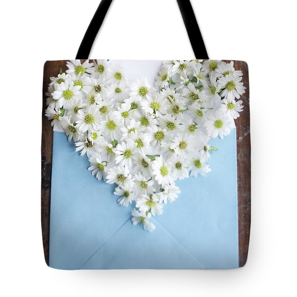 Heart Shaped Daisies In Blue Envelope Tote Bag