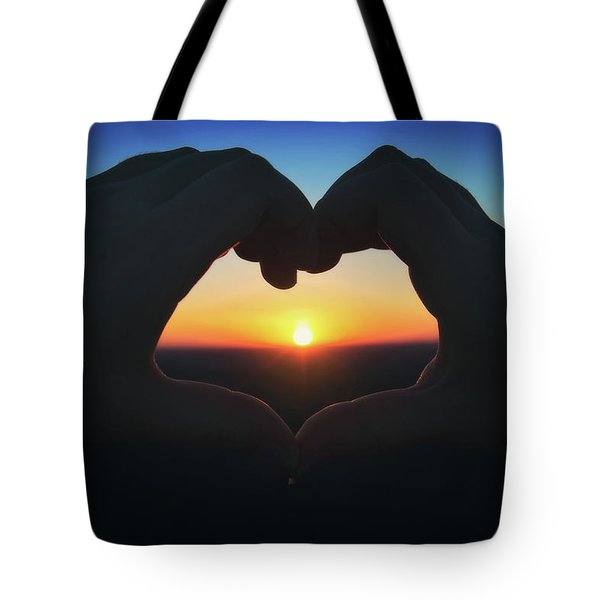 Tote Bag featuring the photograph Heart Shaped Hand Silhouette - Sunset At Lapham Peak - Wisconsin by Jennifer Rondinelli Reilly - Fine Art Photography