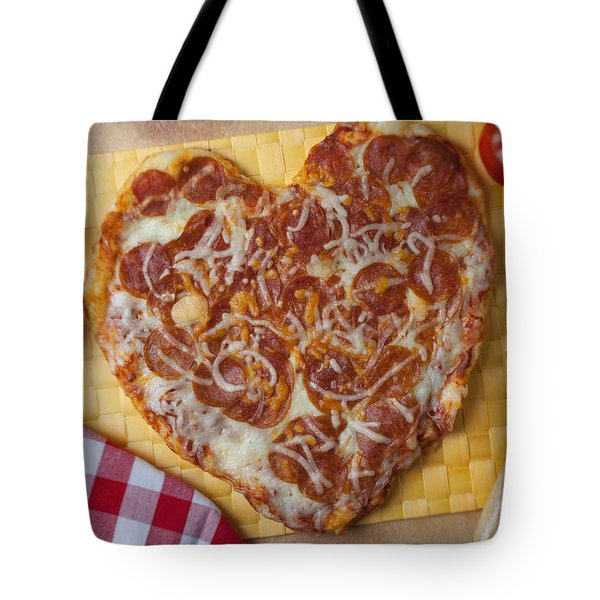 Heart Shaped Pizza Tote Bag by Garry Gay
