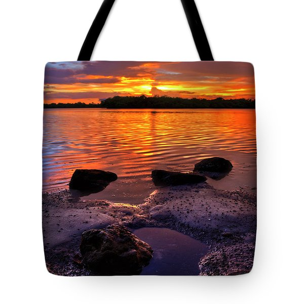 Heart Shaped Pool At Sunset Over Lake Worth Lagoon On Singer Island Florida Tote Bag