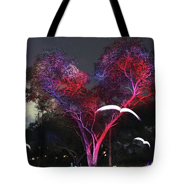 Heart Tree And Birds Tote Bag by Andrew Nourse
