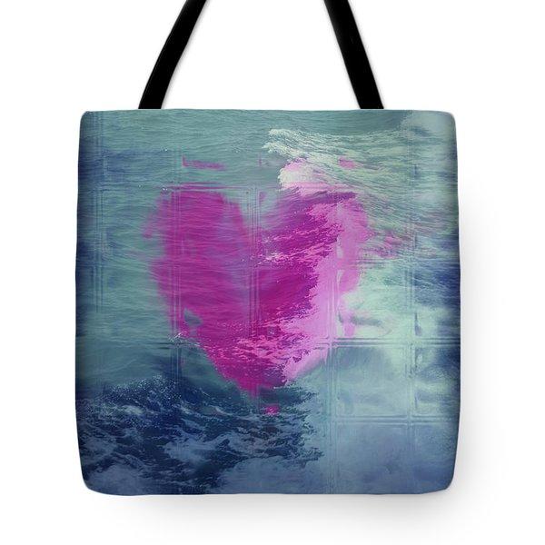 Heart Waves Tote Bag by Linda Sannuti