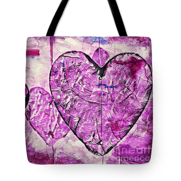Tote Bag featuring the painting Hearts Abstract by Lita Kelley