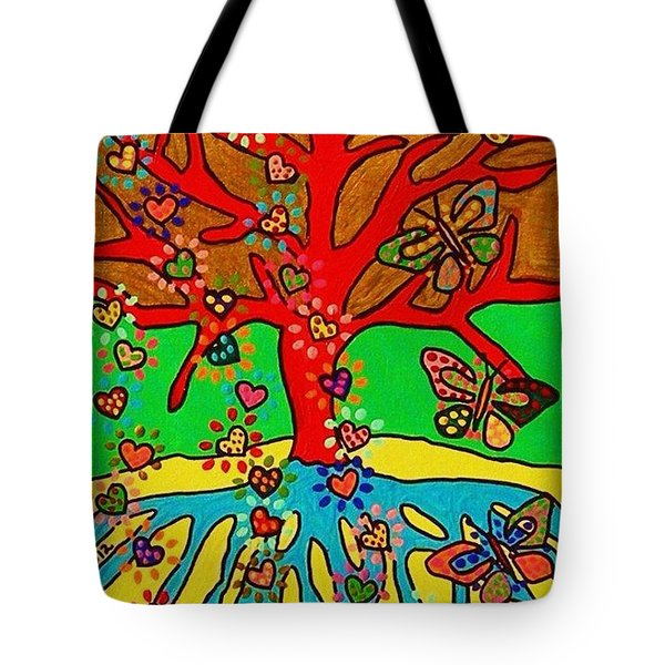Hearts Grow Into Butterflies Tote Bag by Sandra Silberzweig