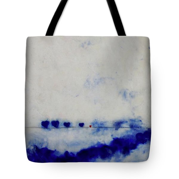Tote Bag featuring the painting Hearts On A Wire by Kim Nelson
