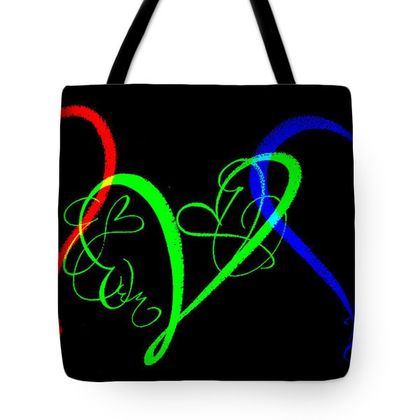 Hearts On Black Tote Bag by Swank Photography