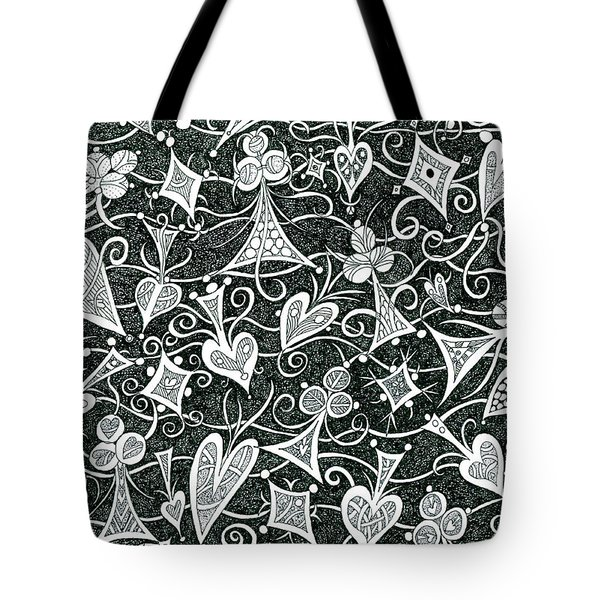 Hearts, Spades, Diamonds And Clubs In Black Tote Bag