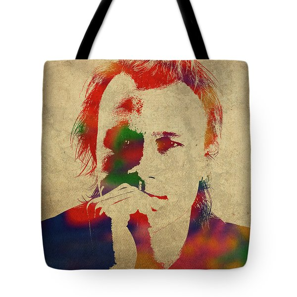 Heath Ledger Watercolor Portrait Tote Bag