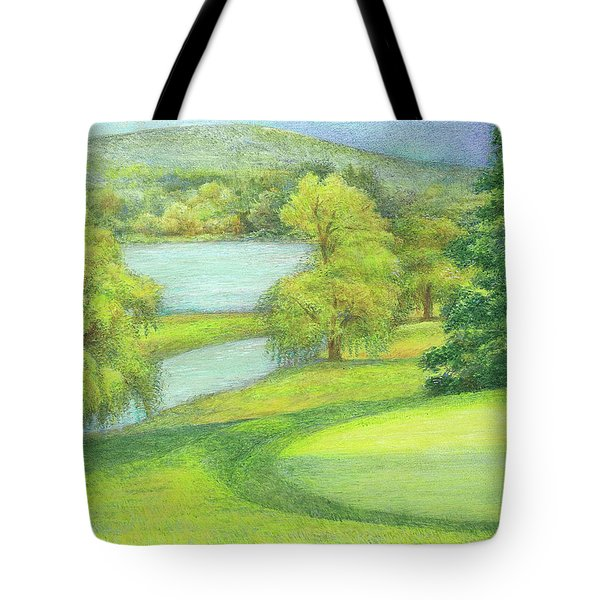 Tote Bag featuring the painting Heavenly Golf Course Landscape by Judith Cheng