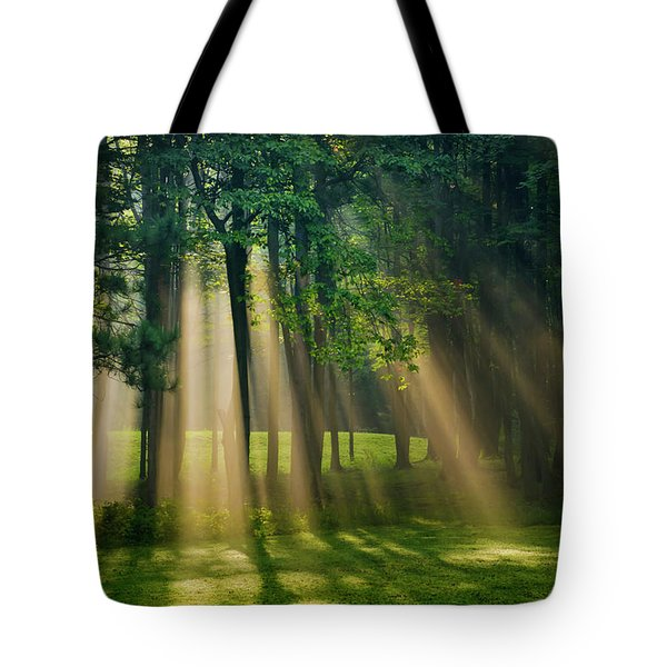 Heavenly Light Sunrise Tote Bag by Christina Rollo