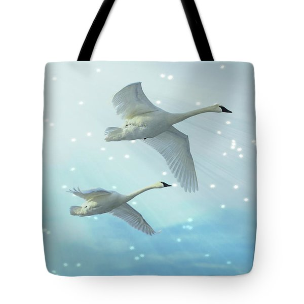 Tote Bag featuring the photograph Heavenly Swan Flight by Patti Deters