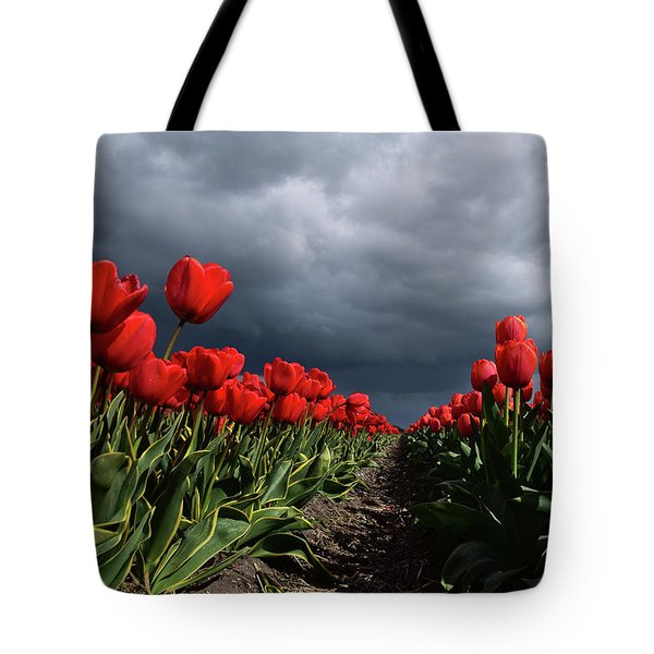 Heavy Clouds Over Red Tulips Tote Bag by Mihaela Pater