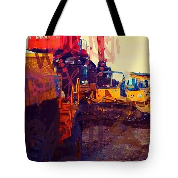 Heavy Equipment Graffiti Tote Bag