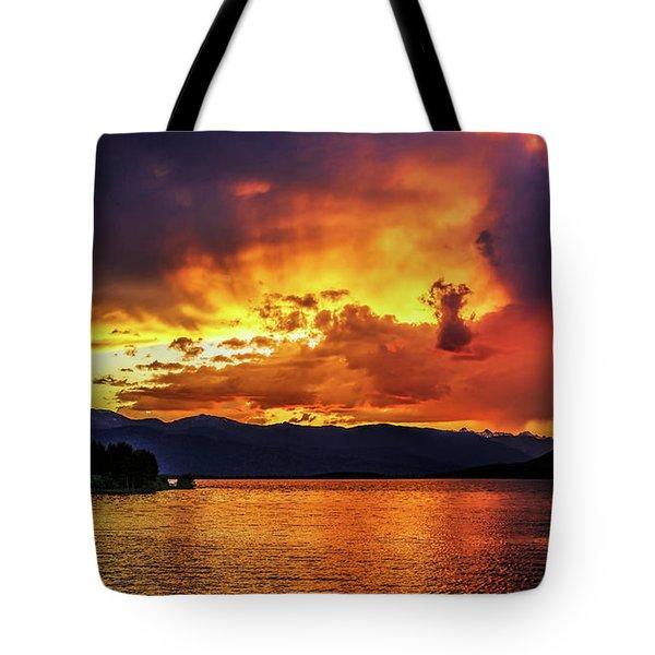 Hebgen Lake Sunset Tote Bag