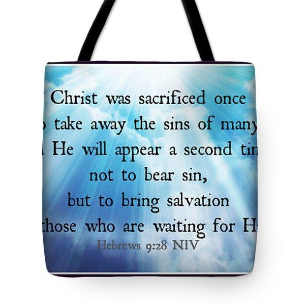 Hebrews 9-28 Tote Bag