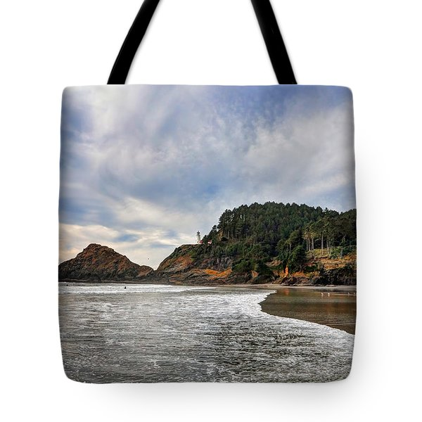 Heceta Head Lighthouse Fall 2015 Tote Bag by Lara Ellis
