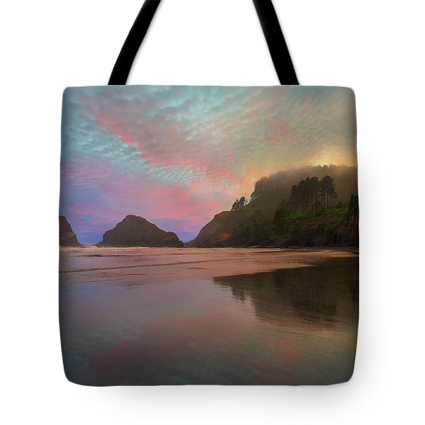Heceta Head Lighthouse Foggy Sunset Tote Bag by David Gn
