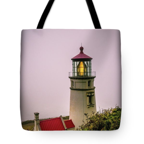 Heceta Head Lighthouse In The Fog Tote Bag