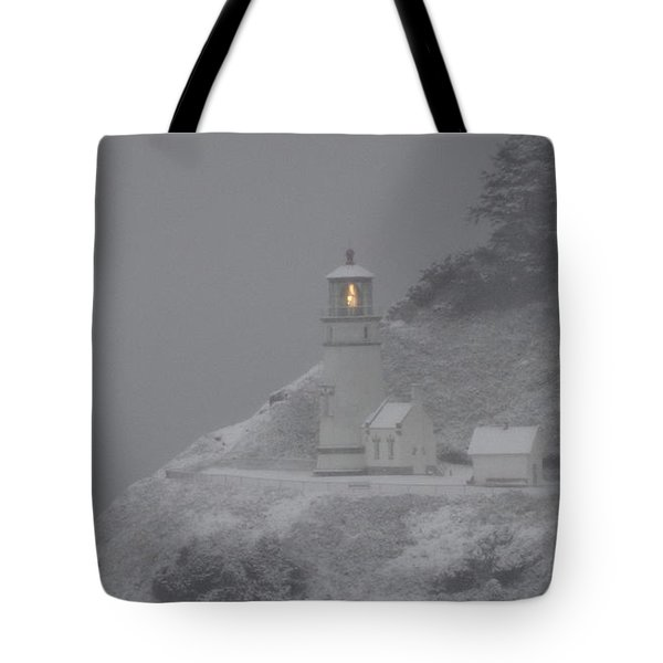 Heceta Lighthouse Snowstorm Tote Bag