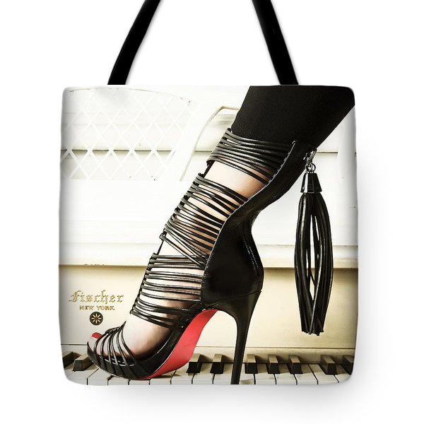 Tote Bag featuring the photograph Heels On Piano by Gregg Cestaro