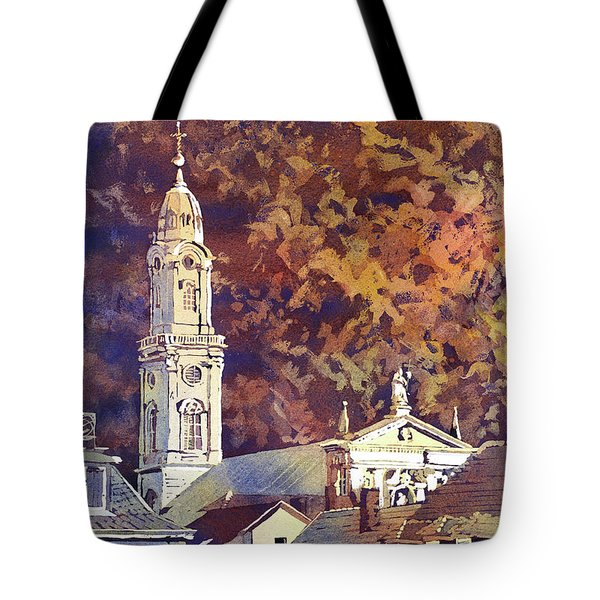 Tote Bag featuring the painting Heidelberg Evening by Ryan Fox