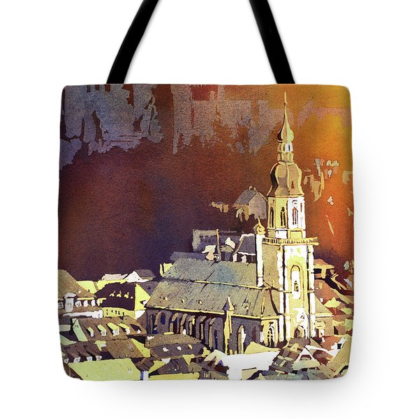 Tote Bag featuring the painting Heidelberg Sunset- Germany by Ryan Fox