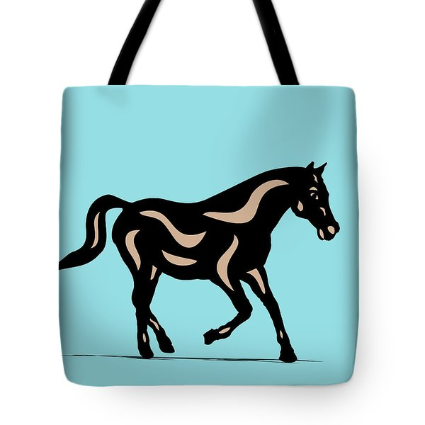 Heinrich - Pop Art Horse - Black, Hazelnut, Island Paradise Blue Tote Bag