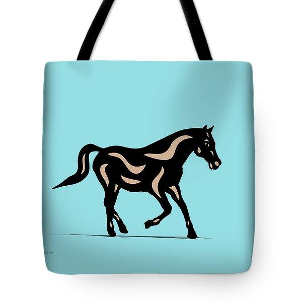 Heinrich - Pop Art Horse - Black, Hazelnut, Island Paradise Blue Tote Bag by Manuel Sueess